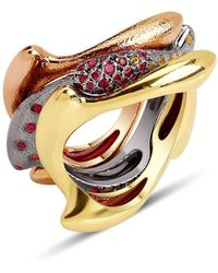 Suciyan - Triple Stack Divers Ring In Yellow Gold, Rose Gold And Sterling Sliver - Lyst