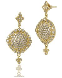 Freida Rothman - Gold Pave Disc Drop Earrings - Lyst