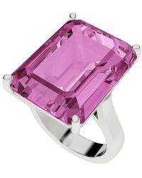 StyleRocks - Pink Sapphire Emerald Cut Sterling Silver Cocktail Ring - Lyst