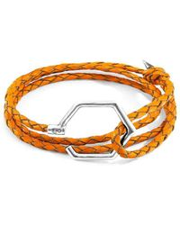 Anchor & Crew - Sterling Silver Fire Orange Storey Braided Leather Bracelet - Lyst