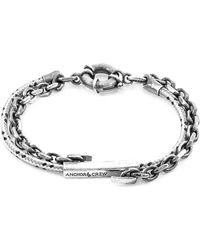 Anchor & Crew - Grey Dash Belfast Silver And Rope Bracelet - Lyst