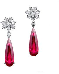 SILVER YULAN - Pear Cut Red Tourmaline Snow Flake Earrings - Lyst