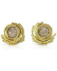 Karen Phillips - 18kt Yellow Gold Raw Diamond Whirl Earrings - Lyst