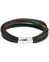 Tateossian - Silver & Green Leather Multi-strand Cobra Bracelet - Lyst