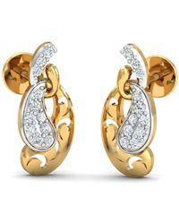 Diamoire Jewels Sri Lankan Pear Cut Sapphire and Diamond Earrings 14kt Yellow Gold iQZGVqsp