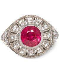 Katherine LeGrand Custom Goldsmith - Platinum & Ruby Edwardian Ring | Katherine Legrand - Lyst