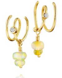 Bergsoe - Spiral Earrings With Champagne Diamond And Opal Beads - Lyst