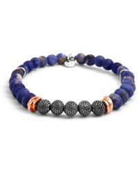 Tateossian - Silver, Rose Gold & Blue Stonehenge Bracelet | - Lyst