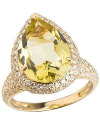Emily Mortimer Jewellery - Aqua Lemon Quartz And Diamond Ring - Lyst