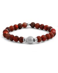 Tateossian - Silver & Red Bead Stonehenge Bracelet | - Lyst
