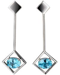 Carolin Stone Jewelry Sterling Silver Blue Topaz Sparkling Big Earrings - Multicolour
