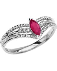 QP Jewellers - Ruby And Diamond Beaded Engagement Ring 9kt White Gold - Lyst