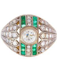 Alexis Danielle Jewelry - Antique Art Deco Original Diamond Emerald 18kt Yellow Gold Platinum Ring - Lyst