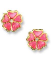 Nicole Barr - 18kt Gold Flower Pink Stud Earrings - Lyst