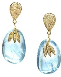 3aed39d68be Trésor - 18kt Gold Earring With Pave Diamond And Aquamarine Nugget Drops  With Motif - Lyst