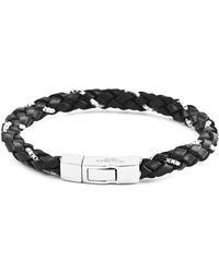 Tateossian - Silver & Black Leather Scoubidou Weave Bracelet | - Lyst