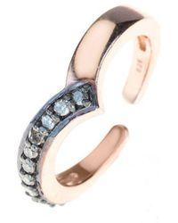 LÁTELITA London - Diamond Rose Gold Midi Ring Chevron - Lyst