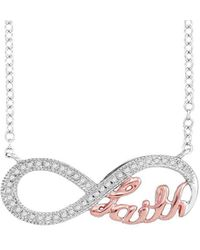 Cosanuova - Diamond Pink Infinity Necklace In White Gold - Lyst