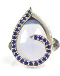 Lisa Robin - Ring Swirl Blue Sapphires Around Chalcedony - Lyst
