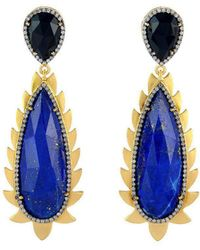 Meghna Jewels - Lapis And Diamond Flame Drop Earrings - Lyst