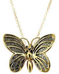 London Road Jewellery - Yellow Gold Black Diamond Kew Butterfly Pendant - Lyst