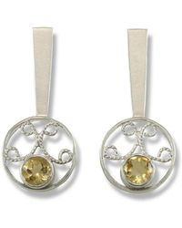 Monica Fiorella Jewelry - Round Modern Filigree Citrine Earrings - Lyst