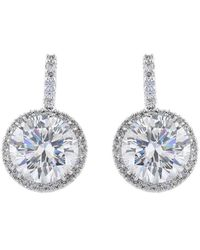 Fantasia by Deserio - Palladium Plated Large Round Pave Drop Earrings - Lyst
