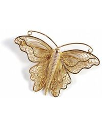 Agora Jewellery - Filigree Monarch Butterfly Brooch In 24kt Rose Gold Plated - Lyst