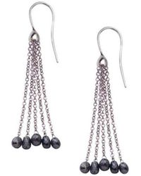 London Road Jewellery - White Gold Black Diamond Tassel Drop Earrings - Lyst