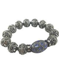 Gemdrop - Rhodium Plated Silver Filigree & Tanzanite Balinese Beaded Bracelet - Lyst