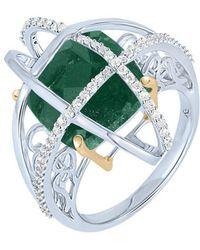 Arya Esha - Gold Aventurine & Diamond Cage Ring | - Lyst