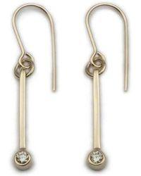 Ortak - Gold Diamond Drop Earrings - Lyst