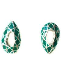 Toosis - Emerald Green Drop Geometric Sterling Silver Earrings With Enamel - Lyst