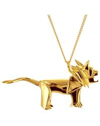 Origami Jewellery - Sterling Silver & Gold Lion Origami Necklace - Lyst