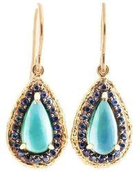 Susan Wheeler Design - Tourmaline Sapphire Earrings - Lyst