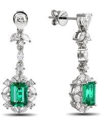 SILVER YULAN - Emerald Diamond Earrings - Lyst