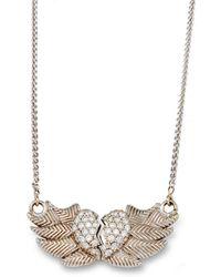 Katherine LeGrand Custom Goldsmith - White Gold & Diamond Winged Heart Necklace | Katherine Legrand - Lyst