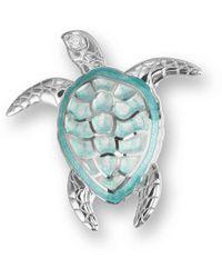 Nicole Barr - Silver Sea Turtle Green Brooch - Lyst