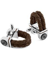 Tateossian - Sterling Silver & Brown Leather Gear Wraparound Cufflinks - Lyst