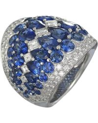 Baenteli - White Gold, Sapphire & Diamond Sphere Ring | - Lyst