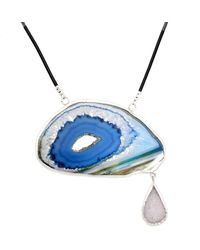 Lia Chahla - Blue Agate Slice And White Druzy Tear Of Joy Necklace - Lyst