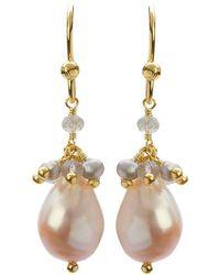 Mishanto London - Cari Yellow Gold And Labradorite Pearl Drop Earrings - Lyst