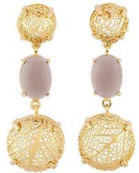 Amazona Secrets - 18kt Gold & Quartz Savannah Leaf Box Earrings With Claws - Lyst