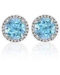Soley London - 18kt White Gold Aquamarine And Diamond Earrings - Lyst