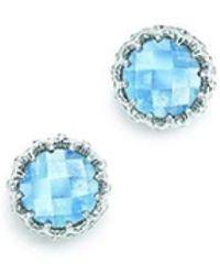 London Road Jewellery - Bloomsbury White Gold Blue Topaz Coronation Stud Earrings - Lyst