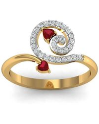 Diamoire Jewels - 18kt Yellow Gold Pave 0.17ct Diamond Infinity Ring With Ruby - Lyst