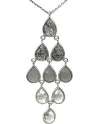 Shimmer by Cindy - Rhodium Plated Ombre Necklace With Black Rutile, Grey Moonstone & Crystal Quartz - Lyst