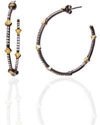 Freida Rothman - Long Mother Of Pearl Pave Framed Bar Drop Earrings - Lyst