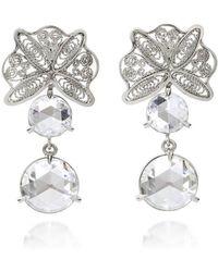 AMMA Jewelry - White Gold Filigree & Rose Cut Amsterdam Diamond Drop Earrings | - Lyst
