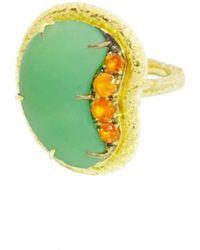 Susan Wheeler Design - Chrysoprase And Mandarin Orange Garnet Ring - Lyst